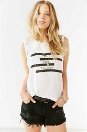 Truly Madly Deeply Spliced Verbiage Twist-Cuff Muscle Tee at Urban Outfitters