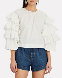 Tulia Ruffle Sleeve Blouse by Ulla Johnson at Intermix