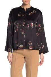 Tulip Print Long Sleeve Silk Blouse by Vince at Nordstrom Rack