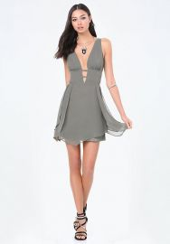 Tulip Skirt Plunge Dress at Bebe