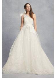 Tulle one shoulder aline wedding gown at Davids Bridal