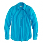 Turquoise blue shirt on New girl at J. Crew