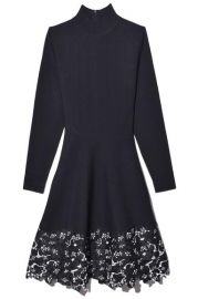 Turtleneck Lace Hem Knit Dress by Lela Rose at Hampden