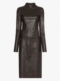 Turtleneck Stretch Leather Midi Dress at Browns