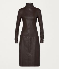 Turtleneck Stretch Leather Midi Dress  at Bottega Veneta