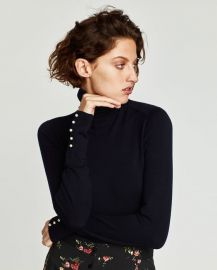 Turtleneck Sweater with Pearl Buttons  at Zara