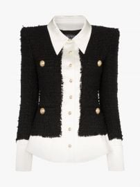 Tweed And Satin Buttoned Jacket at Browns