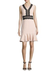 Tweed Contrast-Lace Sleeveless Dress at Neiman Marcus