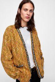 Tweed Jacket with Faux Pearls by Zara at Zara