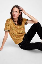 Tweed Top with Faux Pearls by Zara at Zara
