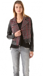 Tweed and leather jacket by Funktional at Shopbop