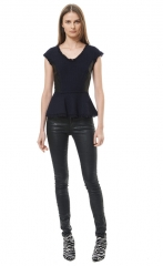Tweed and leather peplum top at Rebecca Taylor