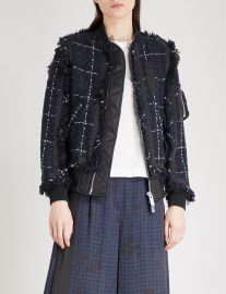 Tweed bomber jacket by Sacai at Selfridges
