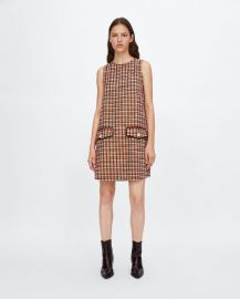 Tweed dress with metallic thread at Zara