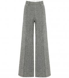 Tweed wool wide-leg pants at Mytheresa