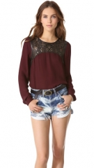 Twelfth St by Cynthia Vincent Leather Yoke Blouse at Shopbop