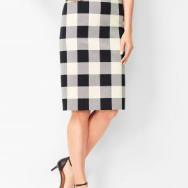 Twill Gingham Pencil Skirt by Talbots at Talbots
