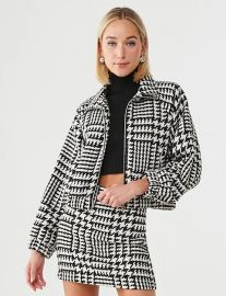 Twill Houndstooth Jacket  at Forever 21