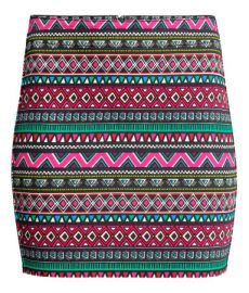 Twill Skirt in Pink Patterned at H&M