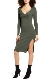 Twist Front Long Sleeve Sweater Dress at Nordstrom