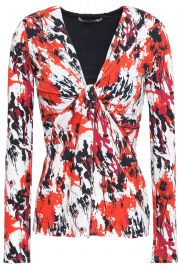 Twist-front printed stretch-jersey top at The Outnet