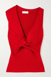 Twist-front ribbed wool top by Alexander McQueen at Net a Porter