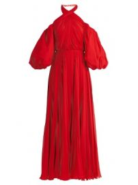 Twist-neck pleated silk-chiffon gown at Matches