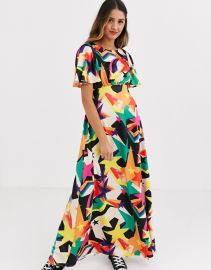 Twisted Wunder tea midaxi dress in retro star print   ASOS at Asos