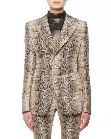 Two-Button Snake-Print Stretch-Cotton Twill Jacket at Neiman Marcus