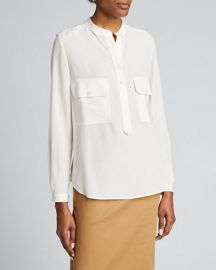 Two-Pocket Button-Placket Long-Sleeve Silk Blouse Stella McCartney at Bergdorf Goodman