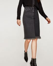 Two-Tone Denim Midi Skirt by Zara at Zara