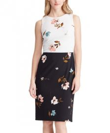 Two-Tone Floral Sleeveless Crepe Sheath Dress at Zulily