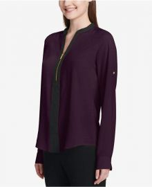 Two-Tone Zip Blouse by Calvin Klein at Macys