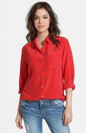 Two by Vince Camuto Silk Utility Blouse at Nordstrom