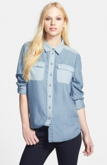 Two by Vince Camuto Two-Tone Denim Utility Shirt at Nordstrom