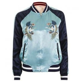 Two-in-One Reversible Bomber Jacket Blue at Topshop