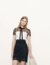 Two-tone lace dress at Sandro