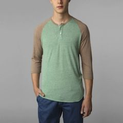 Two tone raglan henley at Urban Outfitters