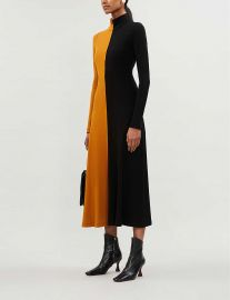 Two-tone turtleneck cotton-jersey midi dress at Selfridges