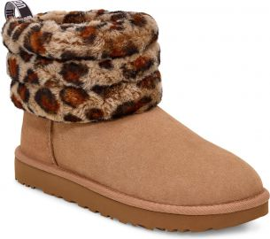 UGG   Mini Fluff Quilted Leopard Print Boot  Women    Nordstrom at Nordstrom