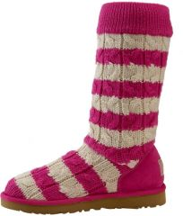 UGGand174 Australia and39Classic Talland39 Stripe Cable Knit Boot in pink at Nordstrom