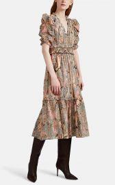 ULLA JOHNSON CLAUDETTE FLORAL CHIFFON DRESS at Barneys