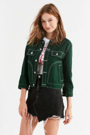 UNIF Woody Green Denim Jacket by Urban Outfitters at Urban Outfitters