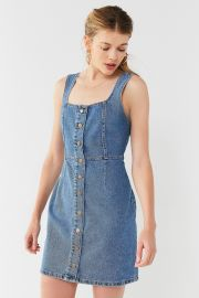 UO BUTTON-DOWN DENIM MINI DRESS at Urban Outfitters