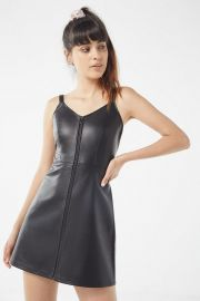UO LORETTA FAUX LEATHER ZIP-FRONT MINI DRESS at Urban Outfitters