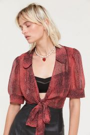 UO Lilah Snake Print Wrap Top at Urban Outfitters