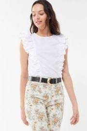 UO Margot Ruffle Cap Sleeve Top at Urban Outfitters