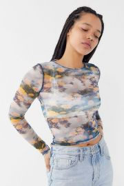 UO Mona Sheer Mesh Long Sleeve Top at Urban Outfitters