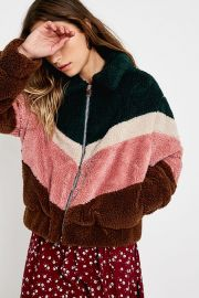 UO Pink Chevron Teddy Crop Jacket at Urban Outfitters