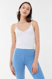 UO Ribbed Lace Trim V-Neck Cami at Urban Outfitters